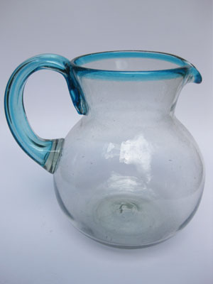 Sale Items / 'Aqua Blue Rim' blown glass pitcher / This modern pitcher is decorated with an aqua blue rim.
