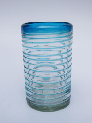 New Items / 'Aqua Blue Spiral' drinking glasses  / These glasses offer the perfect combination of style and beauty, with aqua blue spirals all around.