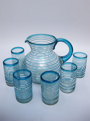 New Items / 'Aqua Blue Spiral' pitcher and 6 drinking glasses set / Swirls of aqua blue color embelish this set, reminiscent of the tropical caribbean waters of Cancun.