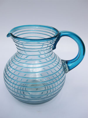 Sale Items / 'Aqua Blue Spiral' blown glass pitcher / This pitcher is a work of art by itself. Its aqua blue swirls add a beautiful touch to the design.