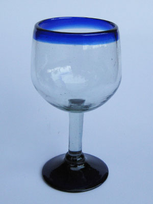 Sale Items / 'Cobalt Blue Rim' balloon wine glasses  / These balloon wine glasses are the largest of their class, you will enjoy them as they capture the bouquet of a fine red wine.