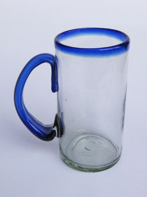 Sale Items / 'Cobalt Blue Rim' large beer mugs  / What better way to enjoy freezing cold beer than with these large blue rim mugs? Thick blown glass helps keep low temperature and full flavor, just the way you like it!