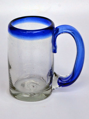 New Items / 'Cobalt Blue Rim' beer mugs  / Imagine drinking a cold beer in one of these mugs right out of the freezer, the cobalt blue handle and rim makes them a standout in any home bar.