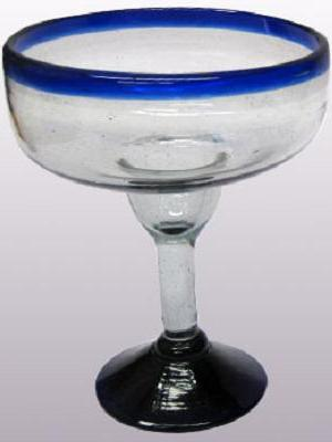 Sale Items / 'Cobalt Blue Rim' large margarita glasses  / For the margarita lover, these enjoyable large sized margarita glasses feature a cheerful cobalt blue rim.