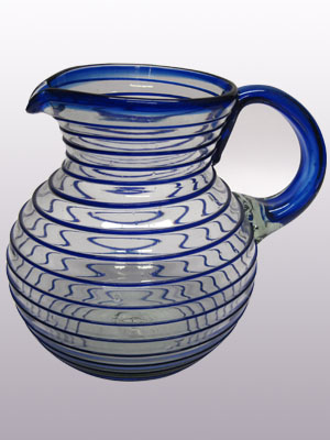 Sale Items / 'Cobalt Blue Spiral' blown glass pitcher / A classic with a modern twist, this pitcher is adorned with a beautiful cobalt blue spiral.