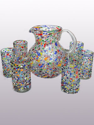 MEXICAN GLASSWARE / Large 118oz Confetti Rocks Pitcher & 6 Drinking Glasses Set