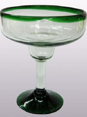 Sale Items / 'Emerald Green Rim' large margarita glasses  / For the margarita lover, these enjoyable large sized margarita glasses feature a cheerful emerald green rim.