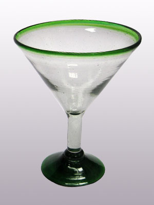 Sale Items / 'Emerald Green Rim' martini glasses  / This wonderful set of martini glasses will bring a classic, mexican touch to your parties.