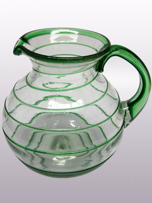 Sale Items / 'Emerald Green Spiral' blown glass pitcher / A classic with a modern twist, this pitcher is adorned with a beautiful emerald green spiral.
