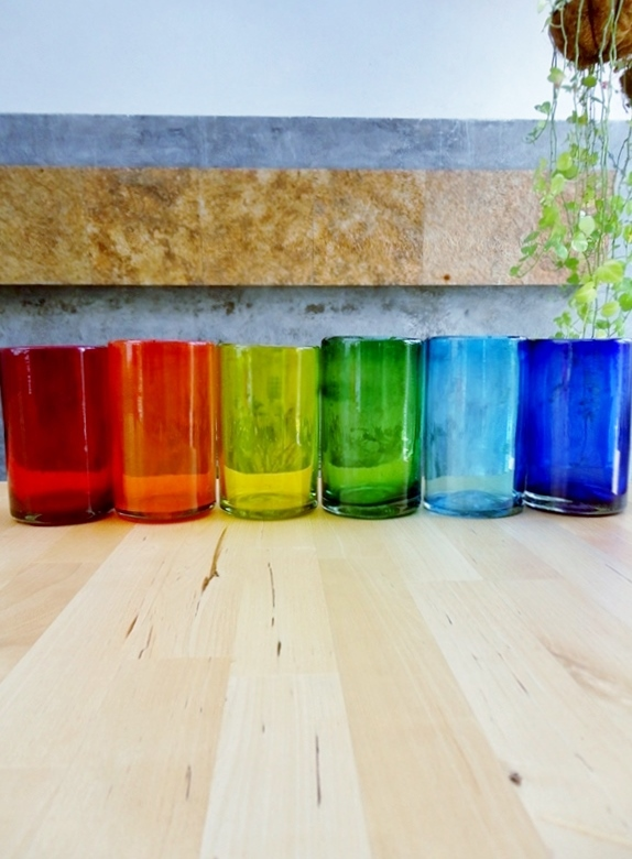 New Items / Rainbow Colored drinking glasses  / These handcrafted glasses deliver a classic touch to your favorite drink.