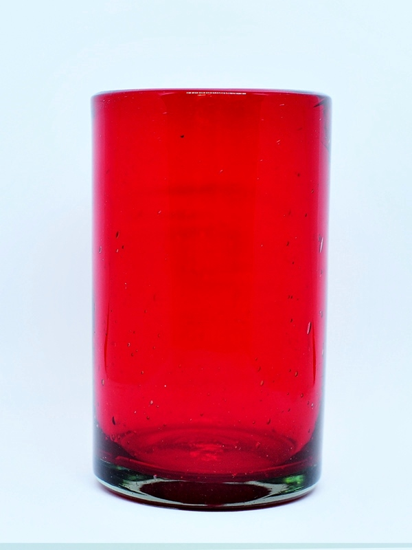 MEXICAN GLASSWARE / Solid Ruby Red drinking glasses